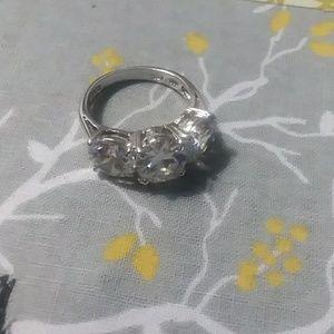 Sterling Silver Three Stone CZ Ring